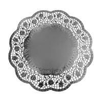 Krajky dekor. kulaté 36 cm stříbrné (4 ks v bal.)
