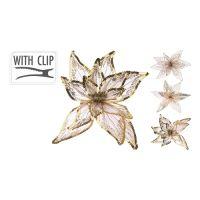 Květ na klipu 20 cm - zlatý, mix / 1ks
