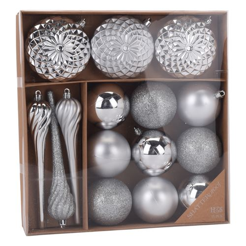 Vánoční ozdoby - PP stříbrné 6-16 cm, set 15ks