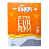 Dekorační pěna A4 EVA stříbrná glitter tloušťka 2,0 mm, sada 10 ks