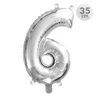 Balón narodeninový 35 cm - číslo 6, strieborný