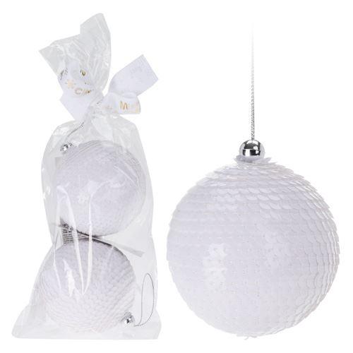 Vánoční koule - PS bílé 75 mm, set 2ks