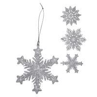 Vánoční ozdoba - PP transparentní s třpytkami - vločka 10 cm, mix / 1ks