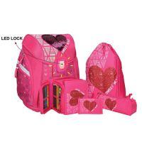 Školská taška - 5-dielny set, PRO LIGHT Red Heart, LED