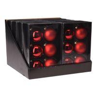 Vánoční koule - skleněné, červené 65 mm, set 6ks