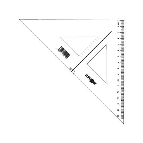 Pravítko trojúhelník s ryskou JUNIOR16 cm