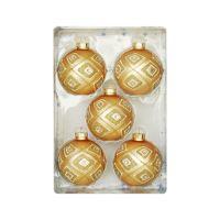 Vánoční koule - zlaté gliter 67 mm / sada 5 ks