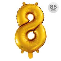 Balón narozeninový 86 cm - číslo 8, zlatý