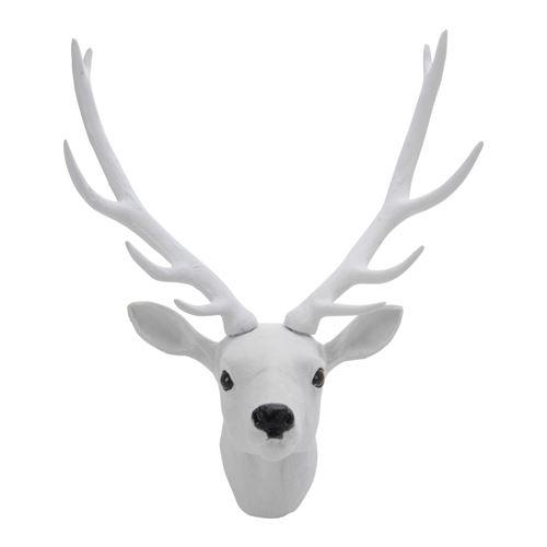 Dekorace závěsná - Jelení hlava 30 cm, bílá