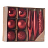 Vánoční ozdoby - PP červené 4,5/14,5 cm, set 9ks