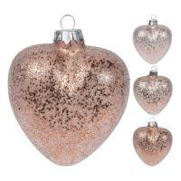 Vánoční ozdoba - skleněná, srdce růžové 9 cm, mix/1ks