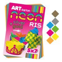 Složka barevného papíru - výkres ART CARTON RIS NEON A4 250g (35 ks) mix 7 barev/x5