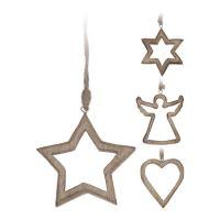 Vánoční ozdoba - dřevěná, různé tvary 10 cm, mix/1ks