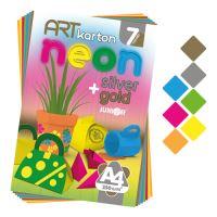 Blok farebného papiera - výkres ART CARTON NEON A4 250g (7 ks) mix 7 farieb