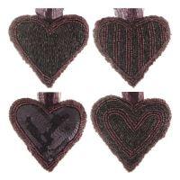 Dekorace závěsná - Srdce z korálků 9x9 cm, černo / fialové, mix / 1ks