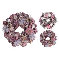 Dekorace - Věnec se šiškami 24 cm, růžový, mix / 1ks