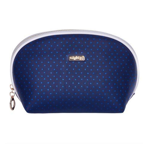 Kosmetická taška Blue Triangles - kulatá