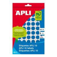 Etikety, okrúhle, priemer: 16 mm, ručne popisovateľné, farebné, APLI, modré, 432 etikiet/b