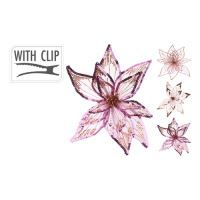 Květ na klipu 20 cm - růžovo/zlatý, mix / 1ks