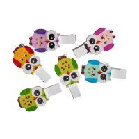 Dekorační kolíčky Sova mix barev, sada 6 ks