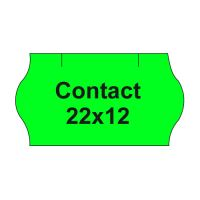 Etikety cen. CONTACT 22x12 oblé - 1500 etikiet/kotúčik, zelené