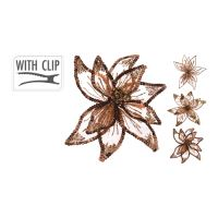 Květ na klipu 20 cm - hnědý, mix/1ks