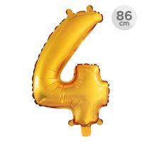 Balón narozeninový 86 cm - číslo 4, zlatý