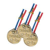 Párty medaile PVC zlatá, sada 3 ks
