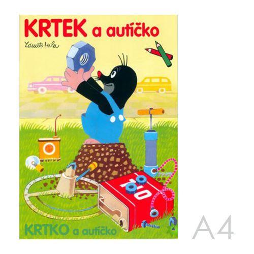 Omalovánka A4 - Krtek a autíčko