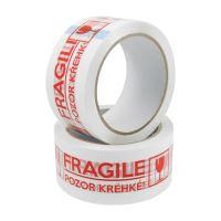 Lepící páska 48 mm x 66 m s potiskem - Fragile / Křehké!