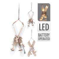 Lyže - svítící / dřevěné LED - teplá bílá 22 cm, mix / 1ks