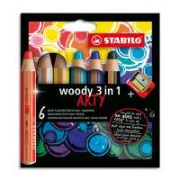 Pastelky STABILO woody 3in1 Arty, sada 6 ks + ořezávátko