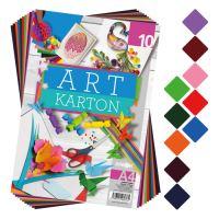 Blok barevného papíru - výkres ART CARTON A4 250g (10 ks) mix 10 barev
