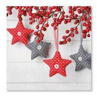Ubrousky TaT 33x33cm Gray-Red Stars