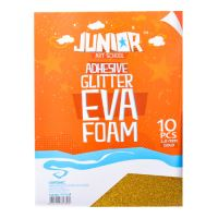 Dekorační pěna A4 EVA zlatá glitter samolepící 2,0 mm, sada 10 ks