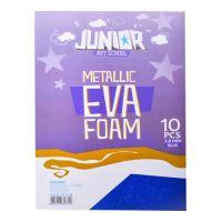 Dekorační pěna A4 EVA modrá  metalická tloušťka 2,0 mm, sada 10 ks