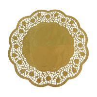 Krajky dekor. kulaté 30cm zlaté (4 ks v bal.)