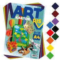 Složka barevného papíru - výkres ART CARTON RIS A4 250g (50 ks) mix 10 barev / x5