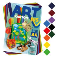 Zložka farebného papiera - výkres ART CARTON RIS A4 250g (50 ks) mix 10 farieb/x5