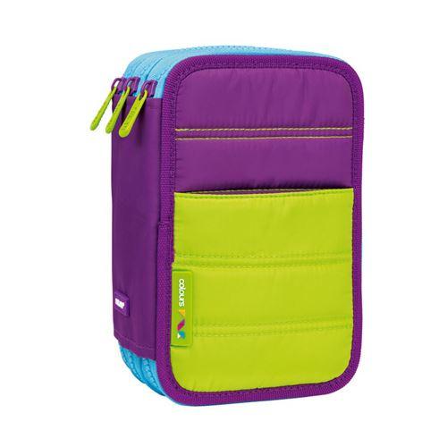 Penál MILAN Colours Purple plný - 3 patrový fialový