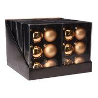 Vánoční koule - skleněné 65 mm/zlaté, sada 6ks