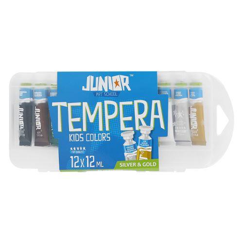 Tempery v boxu 12 ks 12 ml (10 + zlatá a stříbrná)