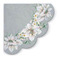 Ubrousky PAW R 32 cm White Poinsettia Silver