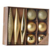 Vánoční ozdoby - PP zlaté 4-14 cm, set 9ks