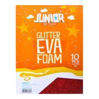 Dekorační pěna A4 EVA červená glitter tloušťka 2,0 mm, sada 10 ks