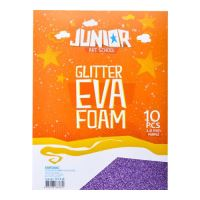 Dekorační pěna A4 EVA fialová glitter tloušťka 2,0 mm, sada 10 ks