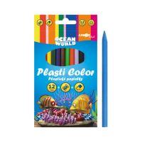 Plastické pastelky Plasti Color Ocean World - sada 12 ks