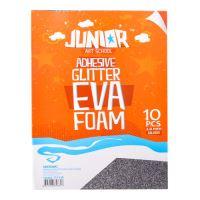 Dekorační pěna A4 EVA stříbrný glitter samolepící 2,0 mm, sada 10 ks