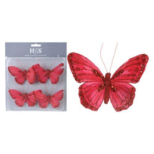 Motýl na klipu - červený 10 cm, set 4ks