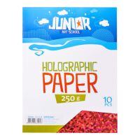 Dekorační papír A4 červený holografický 250 g, sada 10 ks